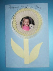 Father's day card with photo inside muffin cup flower.