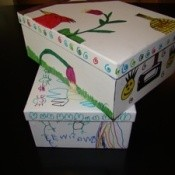 Decorated photo storage boxes.