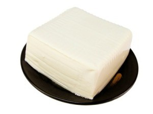 Tofu on Plate with White Background