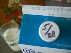 Write date that milk is opened on cap.