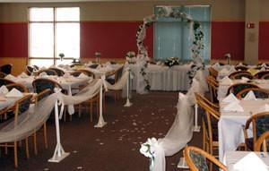 Reception hall decorated like a church.