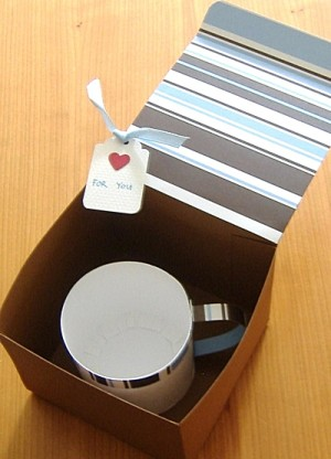 Finished cup in gift box.