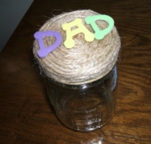 Glad father's day jar.