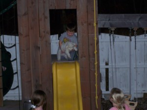 Cannoli, a Bichon Frise, going down a slide with a child.