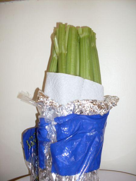 Store celery in aluminum foil