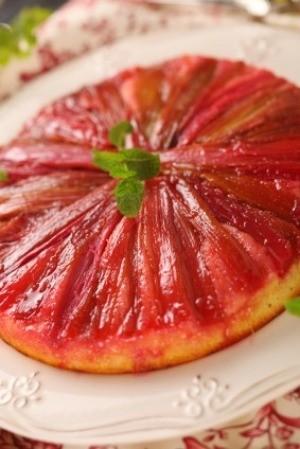 Rhubarb Cake with Mint Garnish