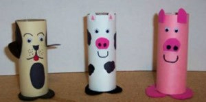 Recycled Barnyard Animals - toilet paper tube pig, cow, and dog