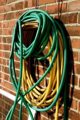 Garen hose hung up outside.