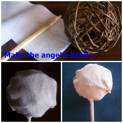 Making the angel's head, three photos.