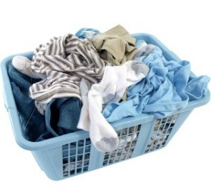 A plastic basket of laundry.