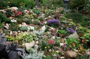 Photo of a beautiful garden on a sloped hill.