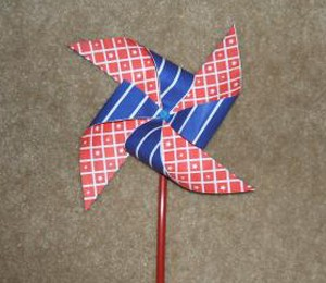 Red, white, and blue pinwheel.