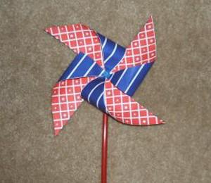 Red, white, and blue pinwheel.