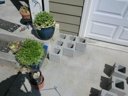 Cinder Block Step Planter - first row