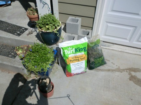 Cinder Block Step Planter - planter with soil and gravel