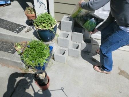 Cinder Block Step Planter - adding gravel