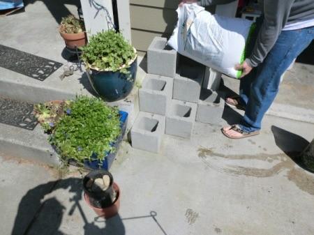 Cinder Block Step Planter - adding soil