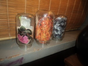 Jars on shelf.