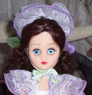 Close up of doll's face.