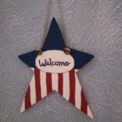 Red, white, and blue wooden star decoration.