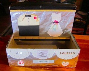 Decorated shoe box for wedding cards.
