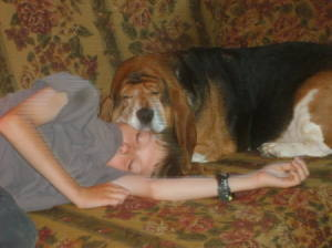 Boy and dog asleep on couch with dog's head resting on the boy's head.