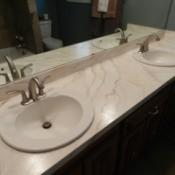 Double sink bathroom countertop.