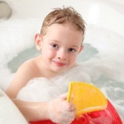 Boy Taking Bubble Bath