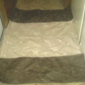 Placemats sewn together for hallway rug.