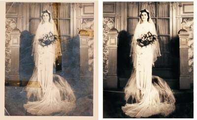 A photo of a bride before and after restoration