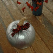 Pumpkin painted silver.