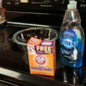 Dawn and baking soda for cleaning a smooth top stove.