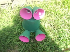 Finished frog garden decoration.