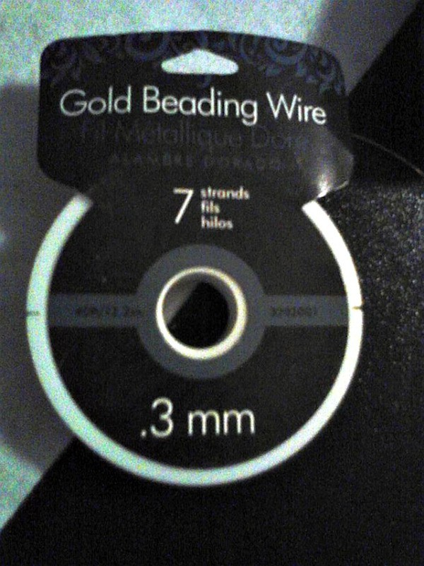 Closeup of roll of beading wire.