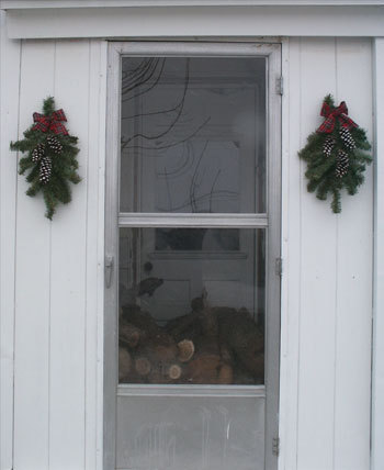 Recycled material Christmas swags.