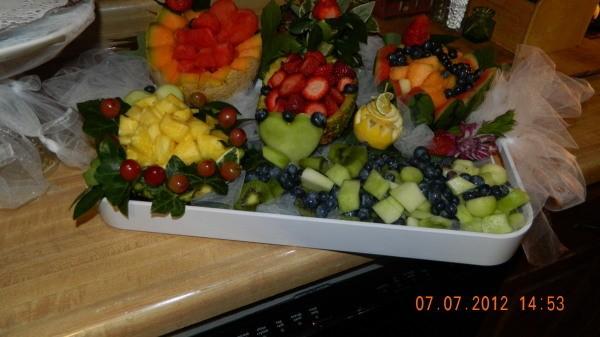 wedding shower fruit tray display
