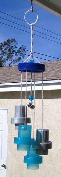 Wind clackers made from recycled materials.