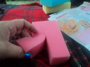 Cutting sponges.