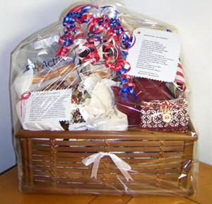 Filled gift basket.