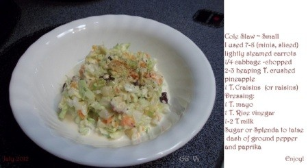 Photo of a small serving of coleslaw with the recipe included to the right of bowl.
