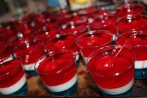 Jello firecrackers in red, white and blue with a cherry.