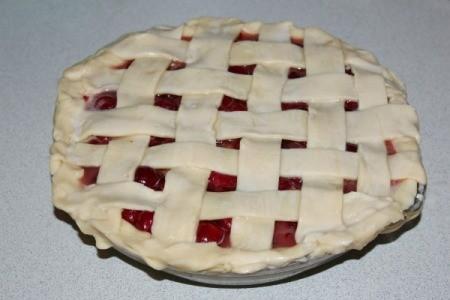 Cherry pie with lattice crust using strips of prepared pie crust