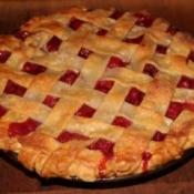Baked cherry pie with lattice crust