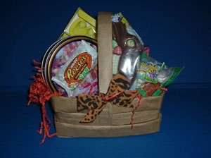 Finished basket decorated and filled with Easter candy.