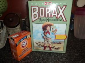 Boxes of borax and baking soda.