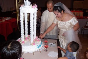 Photo of wedding couple and cake.