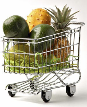 Shopping Cart With Fruits and Vegetables