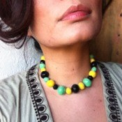 Corn starch beaded necklace.