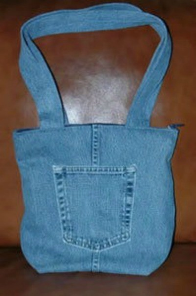 Recycled Denim Tote with pocket