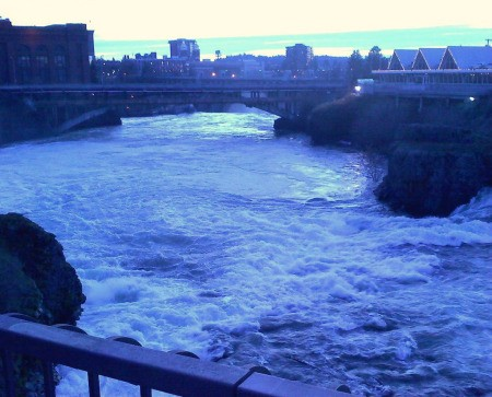 Bluish photo of the falls.
